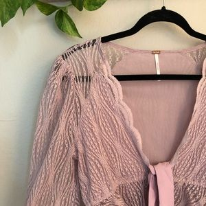 NWT Free People Lace Long Sleeve Tie Top